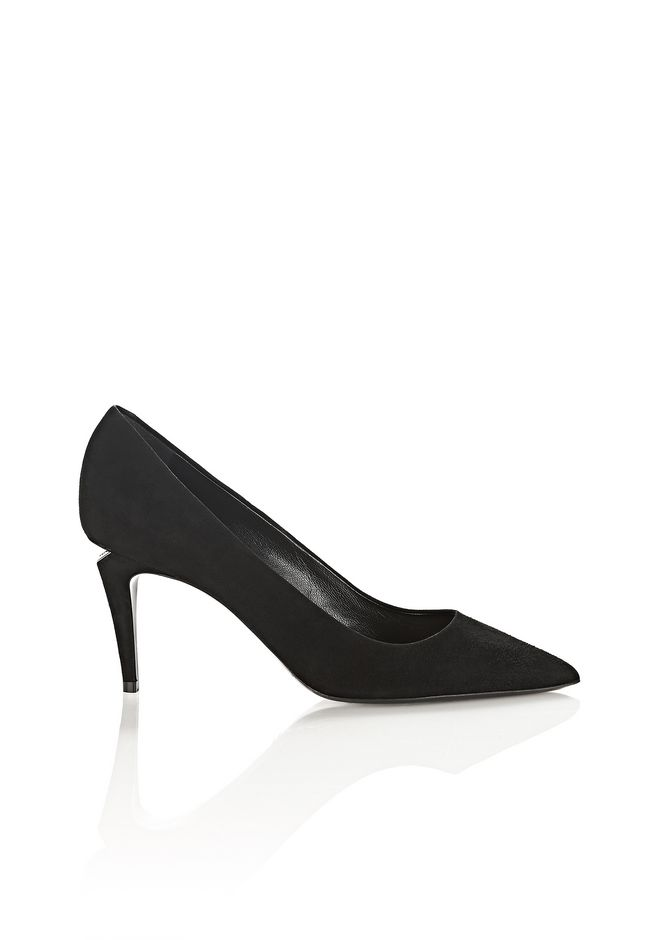 ALEXANDER WANG TRISTA SUEDE MID HEEL PUMP WITH RHODIUM  Talons Adult 12_n_f