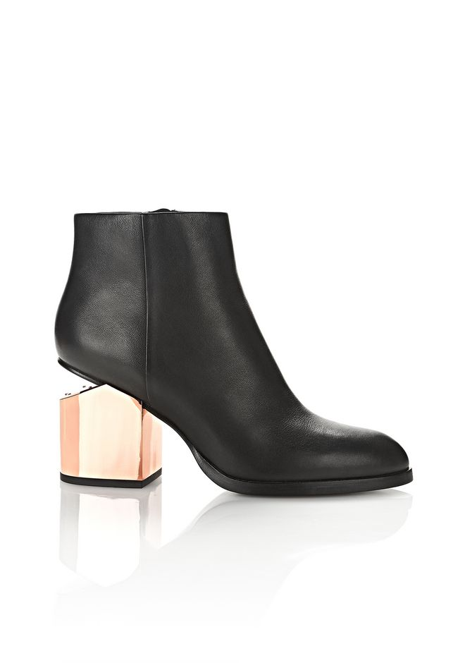 Alexander Wang GABI BOOTIE WITH ROSE GOLD METAL HEEL BOOTS ...