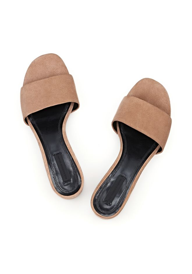 ALEXANDER WANG LOU SUEDE SANDAL WITH RHODIUM FLATS Adult 12_n_e