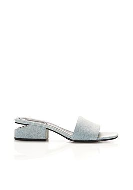 LOU DENIM SANDAL WITH RHODIUM