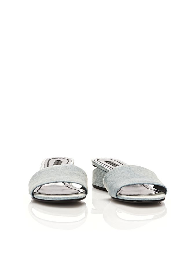 ALEXANDER WANG LOU DENIM SANDAL WITH RHODIUM  FLATS Adult 12_n_a