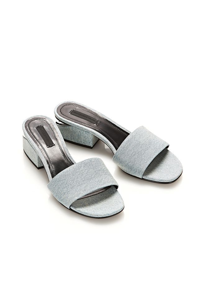 ALEXANDER WANG LOU DENIM SANDAL WITH RHODIUM  FLATS Adult 12_n_r