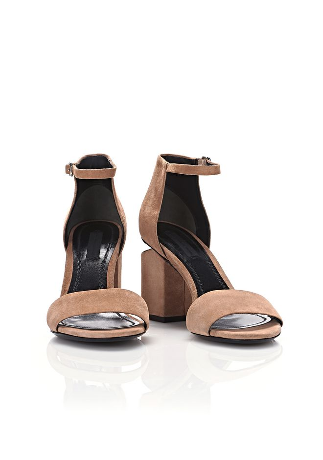ALEXANDER WANG ABBY SUEDE SANDAL WITH RHODIUM Heels Adult 12_n_a