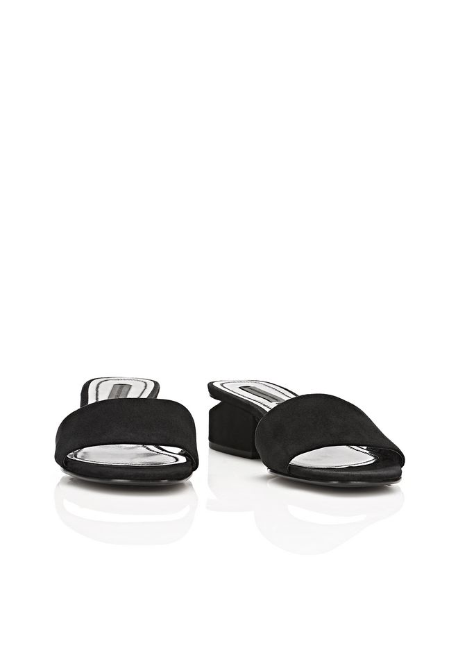 ALEXANDER WANG LOU SUEDE SANDAL WITH RHODIUM FLATS Adult 12_n_a