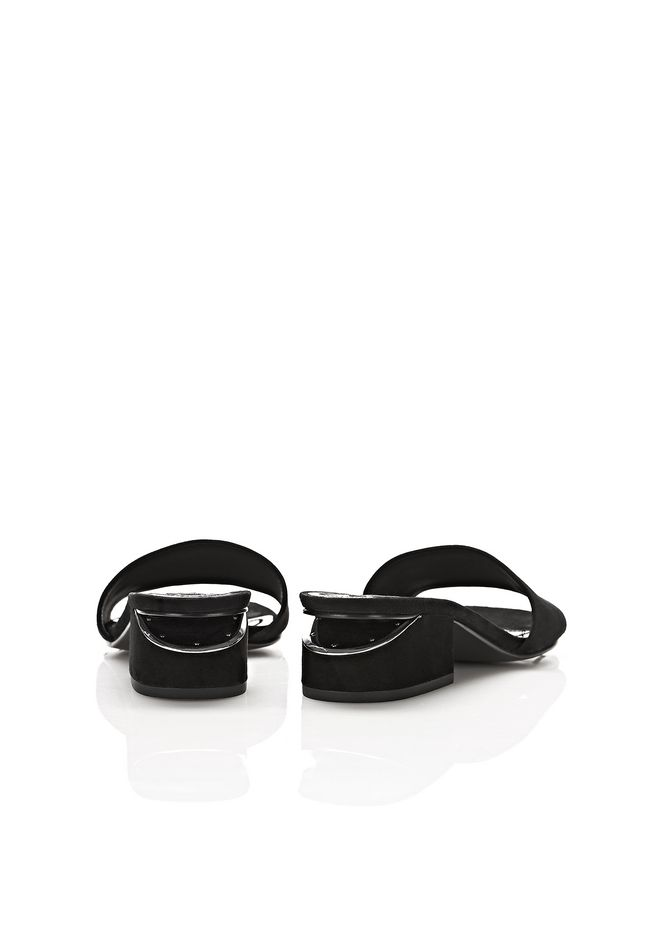 ALEXANDER WANG LOU SUEDE SANDAL WITH RHODIUM FLATS Adult 12_n_d