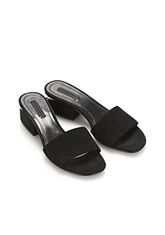 ALEXANDER WANG LOU SUEDE SANDAL WITH RHODIUM FLATS Adult 12_n_r
