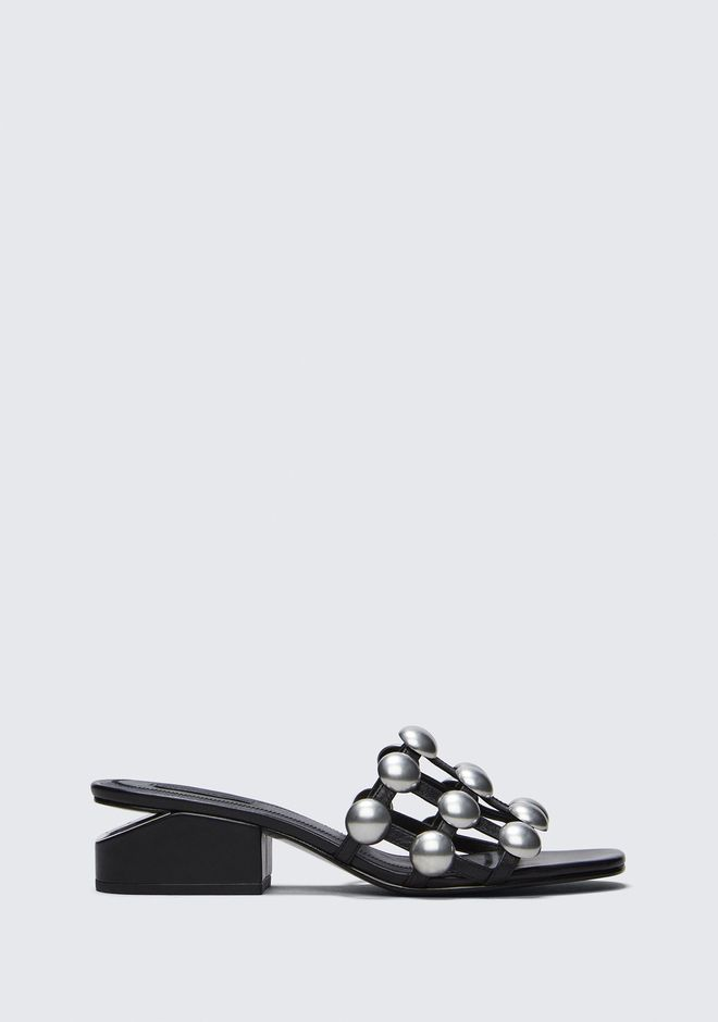 ALEXANDER WANG DOME STUD LOU WITH RHODIUM FLATS Adult 12_n_f