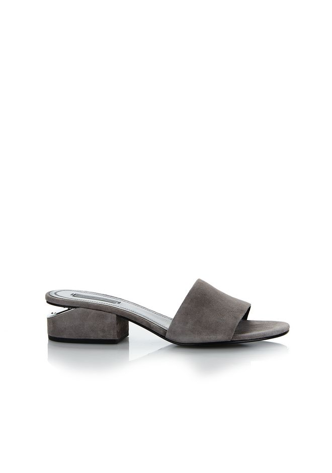 ALEXANDER WANG CHAUSSURES PLATES Femme EXCLUSIVE LOU SUEDE SANDAL WITH RHODIUM
