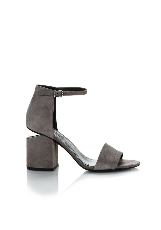ALEXANDER WANG EXCLUSIVE ABBY SUEDE SANDAL WITH RHODIUM 中跟鞋 Adult 12_n_f