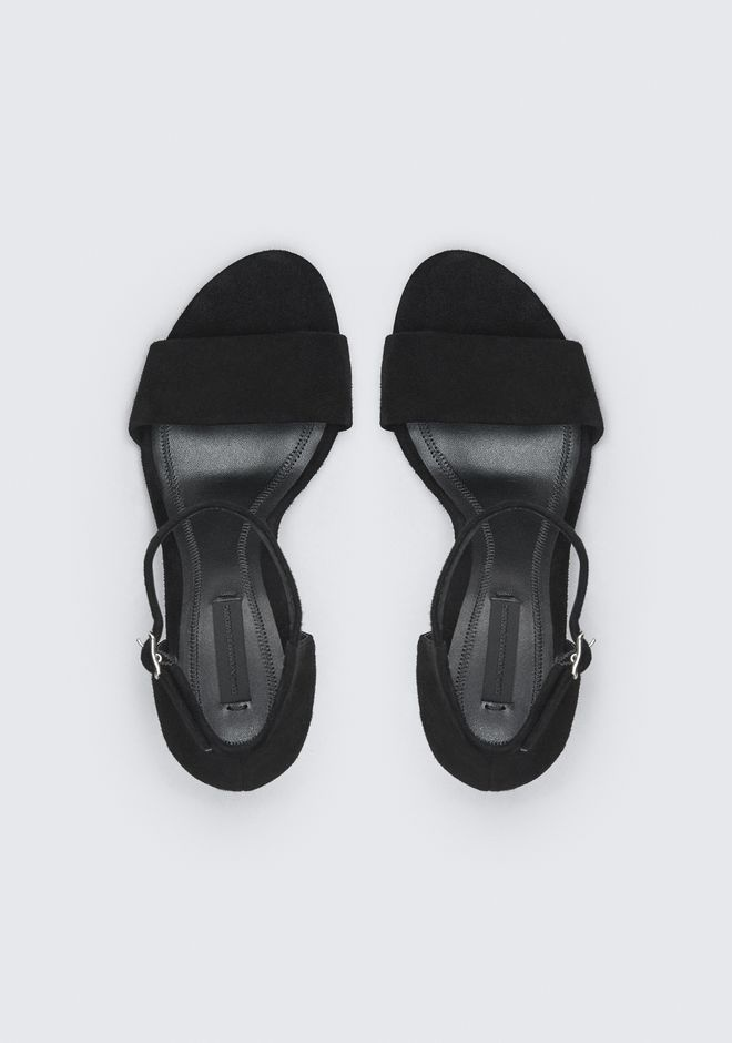 ALEXANDER WANG ABBY SUEDE SANDAL WITH RHODIUM ヒールシューズ Adult 12_n_e