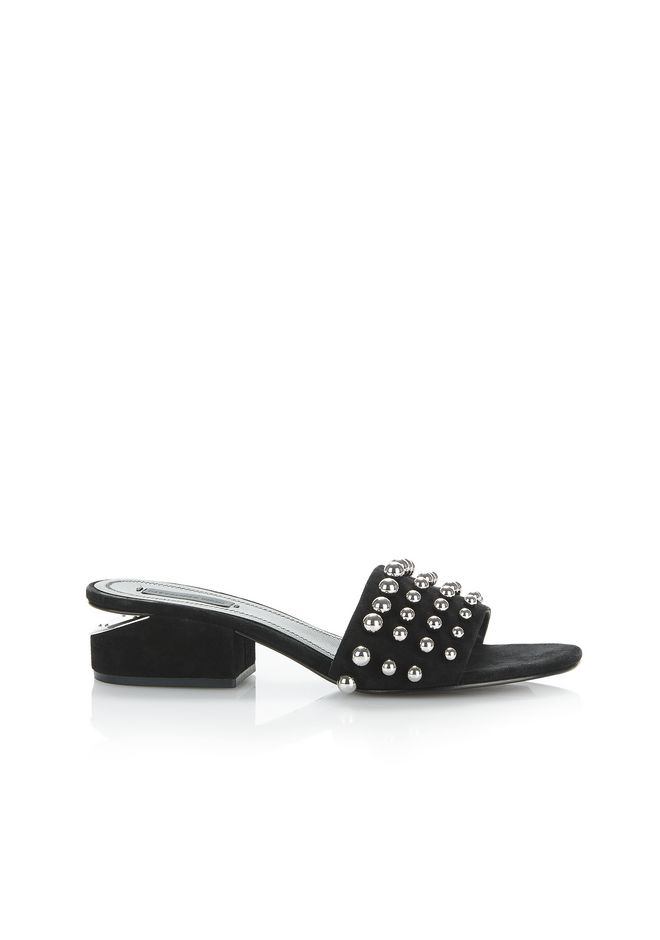 ALEXANDER WANG STUDDED LOU SUEDE SANDAL FLATS Adult 12_n_f