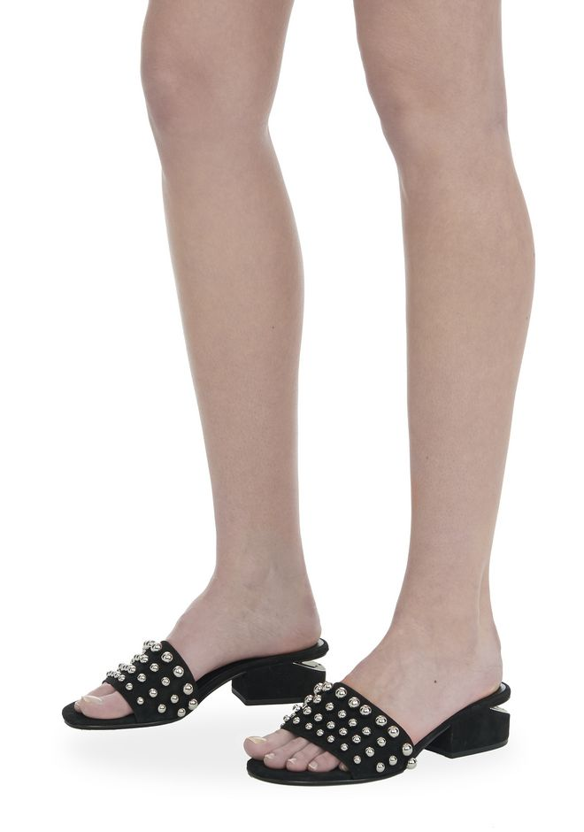 ALEXANDER WANG STUDDED LOU SUEDE SANDAL FLATS Adult 12_n_r