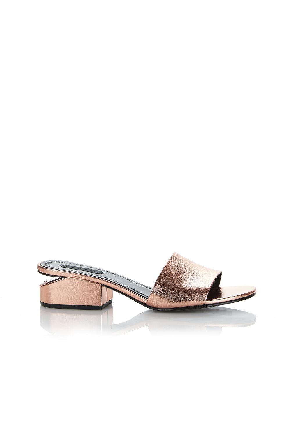 Alexander Wang Woman Lou Metallic Leather Sandals Rose Gold Size 35 Alexander Wang T5r5J1a7cj