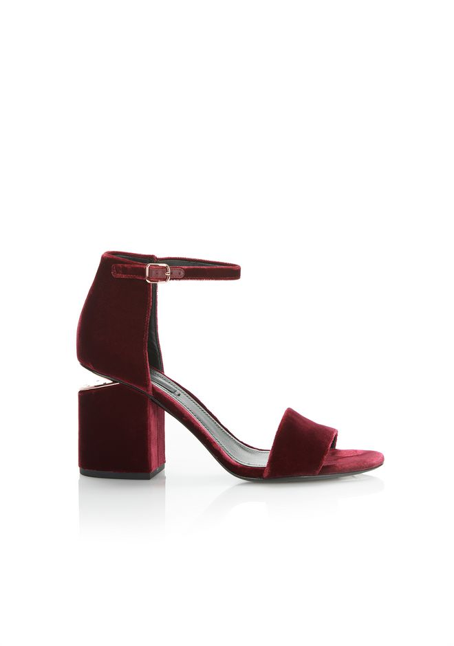 ALEXANDER WANG ABBY VELVET SANDAL WITH RHODIUM Heels Adult 12_n_f