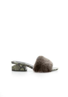 FUR LOU SANDAL WITH RHODIUM