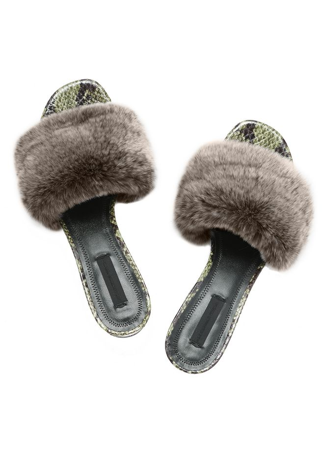 ALEXANDER WANG FUR LOU SANDAL WITH RHODIUM FLATS Adult 12_n_e