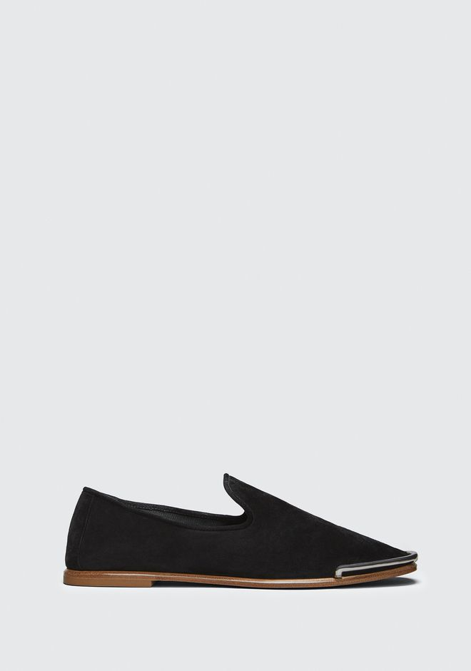 Kelsie Suede Flat Loafer in Black