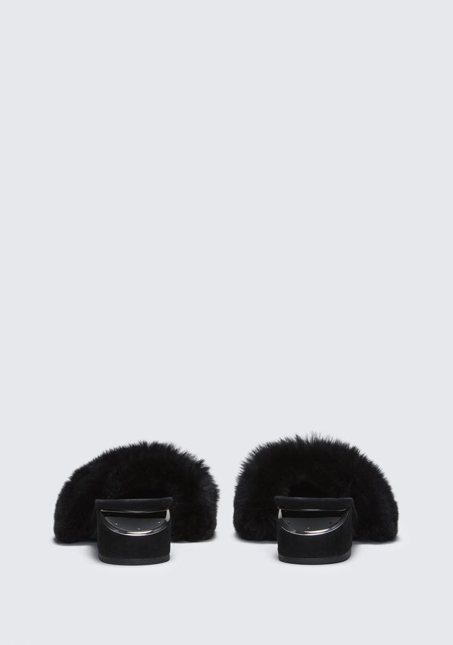 ALEXANDER WANG FUR LOU SANDAL WITH RHODIUM FLATS Adult 12_n_d