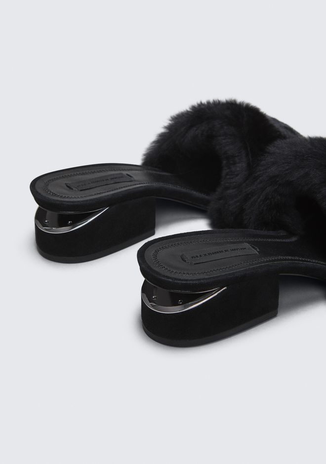 ALEXANDER WANG FUR LOU SANDAL WITH RHODIUM FLATS Adult 12_n_r
