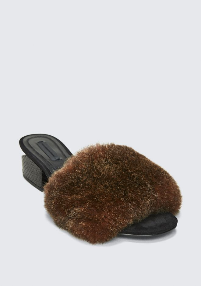 ALEXANDER WANG FUR LOU SANDAL SANDALS Adult 12_n_a