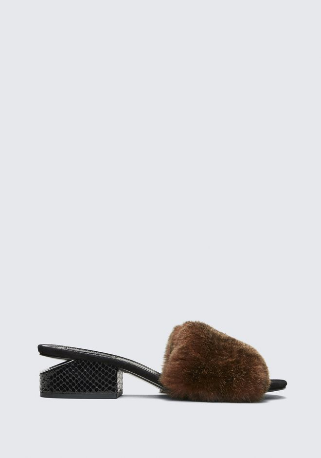 ALEXANDER WANG FUR LOU SANDAL SANDALS Adult 12_n_f