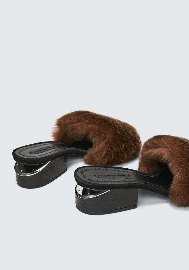 ALEXANDER WANG FUR LOU SANDAL SANDALS Adult 12_n_r