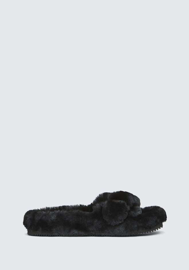 Bee Genuine Shearling Slide Sandal in Black
