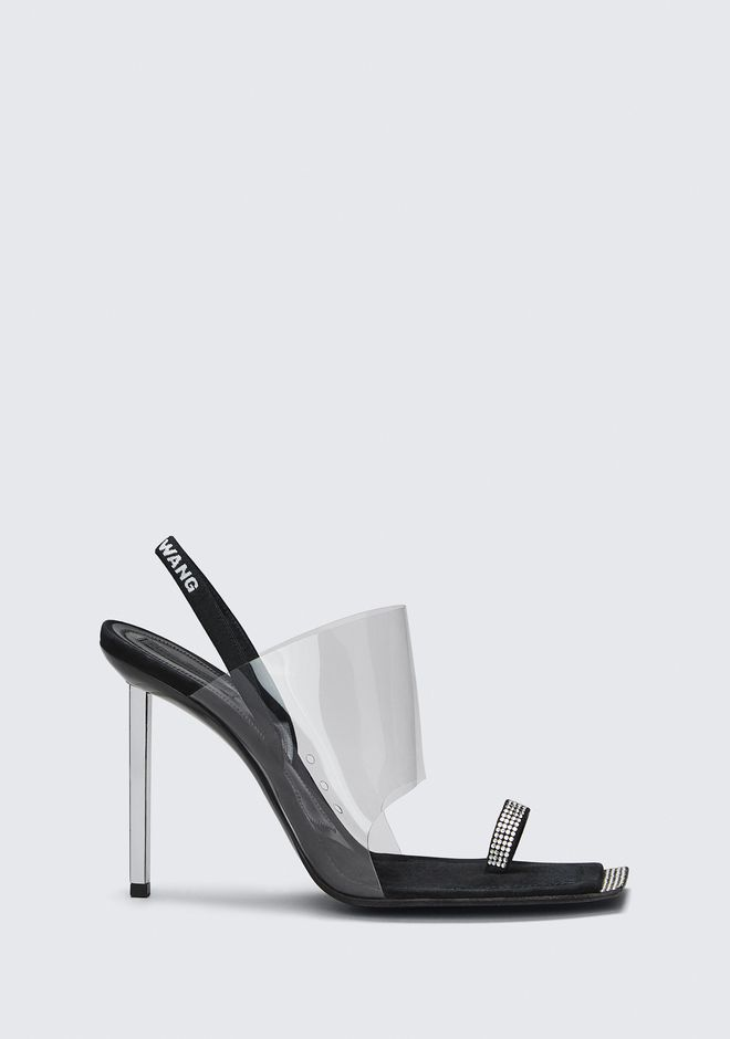 ALEXANDER WANG Embellished Toe-Ring Sandals in Black