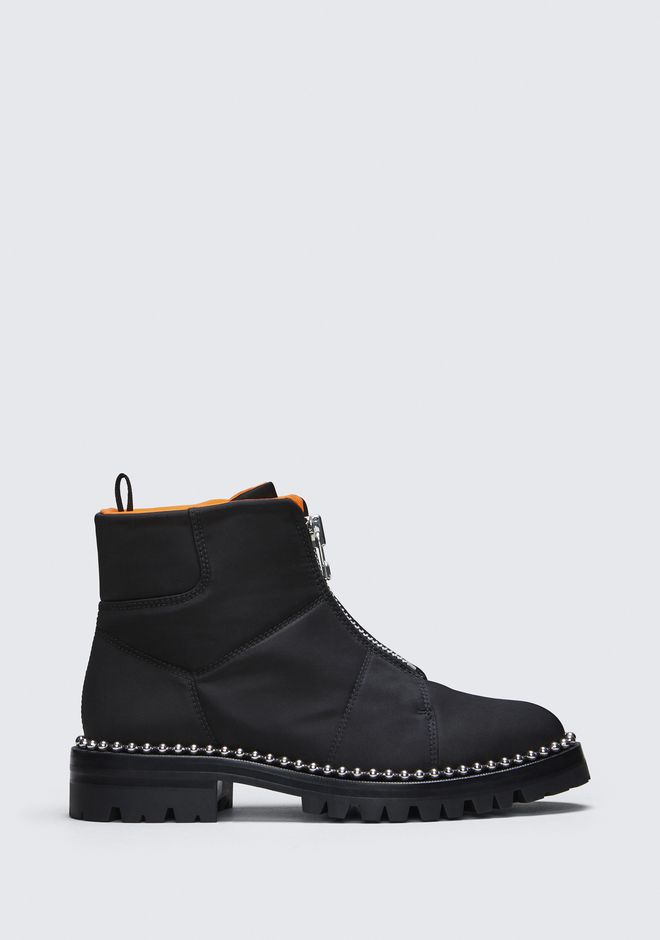 Cooper Studded Canvas Ankle Boots, Black