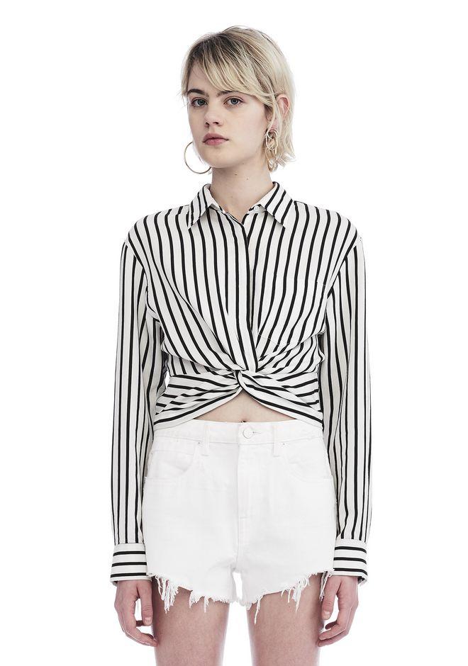 T By Alexander Wang Woman Cropped Striped Cotton-blend Poplin Shirt White Size 6 Alexander Wang Cheap Inexpensive View Online Cheap Sale Really jbPkxX