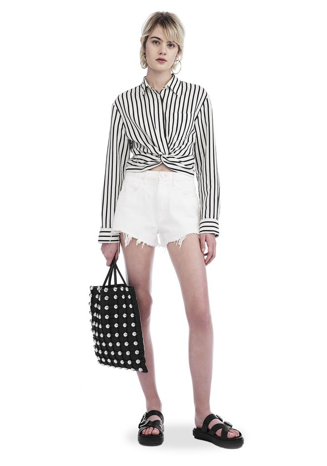 T by ALEXANDER WANG STRIPED TWIST FRONT CROP LONG SLEEVE SHIRT TOP Adult  12_n_f ...