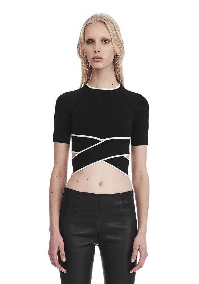 T by ALEXANDER WANG sltbssw KNIT CRISS-CROSS TOP WITH TIPPING