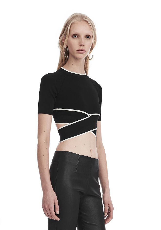 T by ALEXANDER WANG KNIT CRISS-CROSS TOP WITH TIPPING TOP Adult 12_n_a
