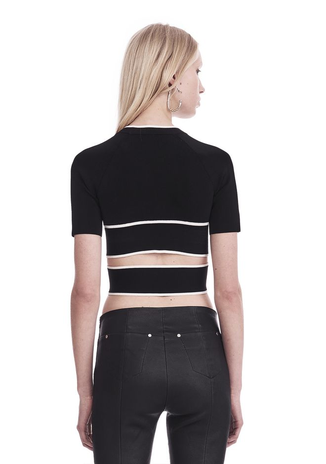 T by ALEXANDER WANG KNIT CRISS-CROSS TOP WITH TIPPING TOP Adult 12_n_d