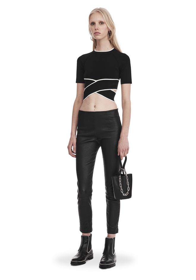 T by ALEXANDER WANG KNIT CRISS-CROSS TOP WITH TIPPING TOP Adult 12_n_f