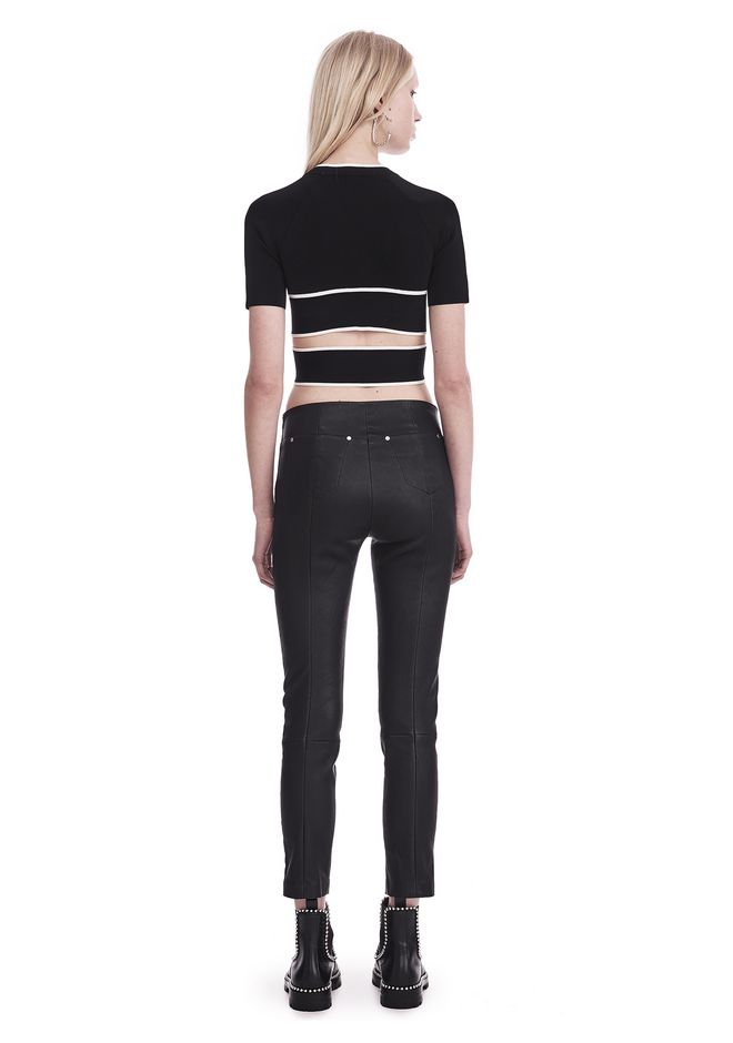 T by ALEXANDER WANG KNIT CRISS-CROSS TOP WITH TIPPING TOP Adult 12_n_r