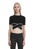 T by ALEXANDER WANG KNIT CRISS-CROSS TOP WITH TIPPING TOP Adult 8_n_e