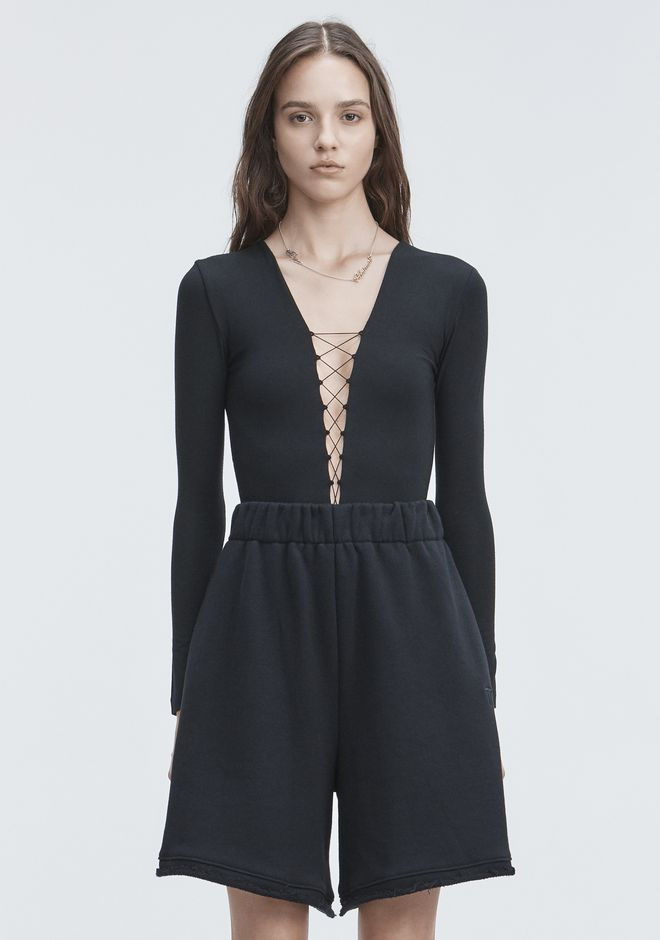 T by ALEXANDER WANG LACE UP LONG SLEEVE BODYSUIT TOP Adult 12_n_e