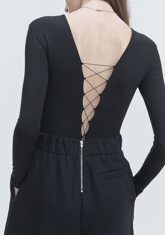 T by ALEXANDER WANG LACE UP LONG SLEEVE BODYSUIT TOP Adult 12_n_r