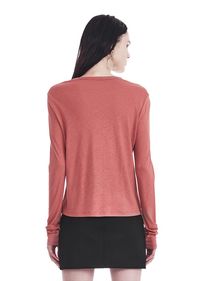 T by ALEXANDER WANG CLASSIC CROPPED LONG SLEEVE TEE TOP Adult 12_n_d