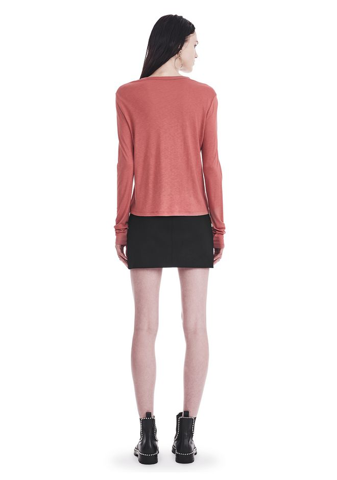 T by ALEXANDER WANG CLASSIC CROPPED LONG SLEEVE TEE TOP Adult 12_n_r