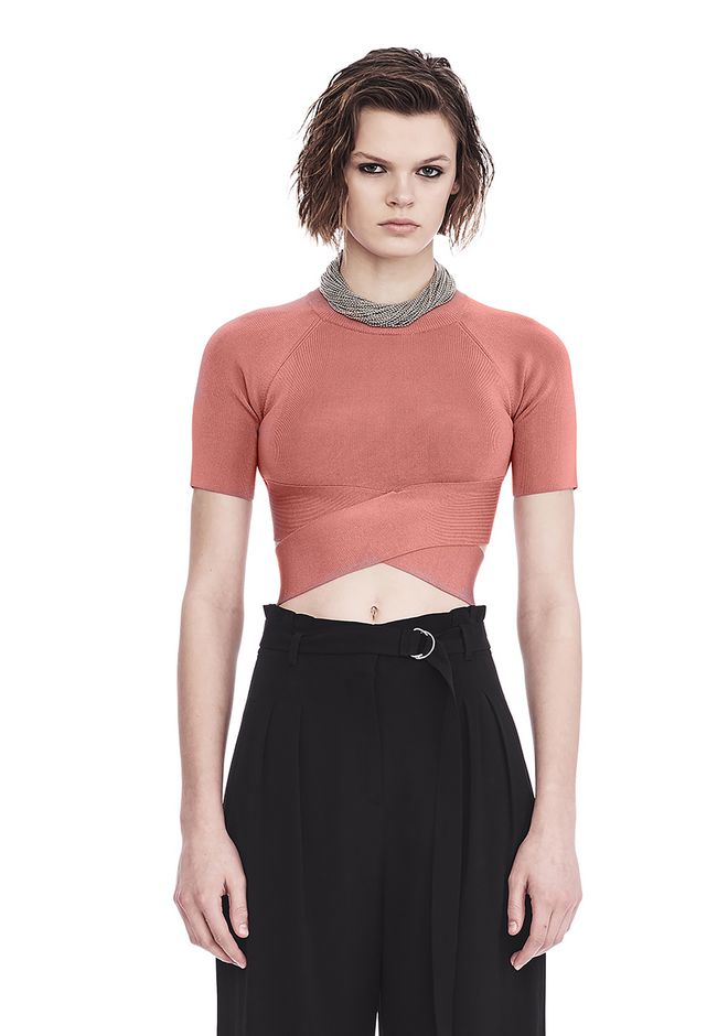 T by ALEXANDER WANG KNIT CRISS CROSS CROP TOP TOP Adult 12_n_e