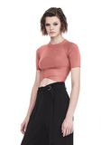 T by ALEXANDER WANG KNIT CRISS CROSS CROP TOP TOP Adult 8_n_a
