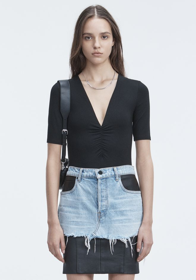 T by ALEXANDER WANG bodysuits EXCLUSIVE SHIRRED SHORT SLEEVE BODYSUIT