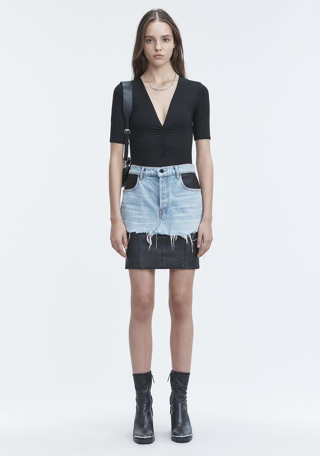 T by ALEXANDER WANG EXCLUSIVE SHIRRED SHORT SLEEVE BODYSUIT 上衣 Adult 12_n_f