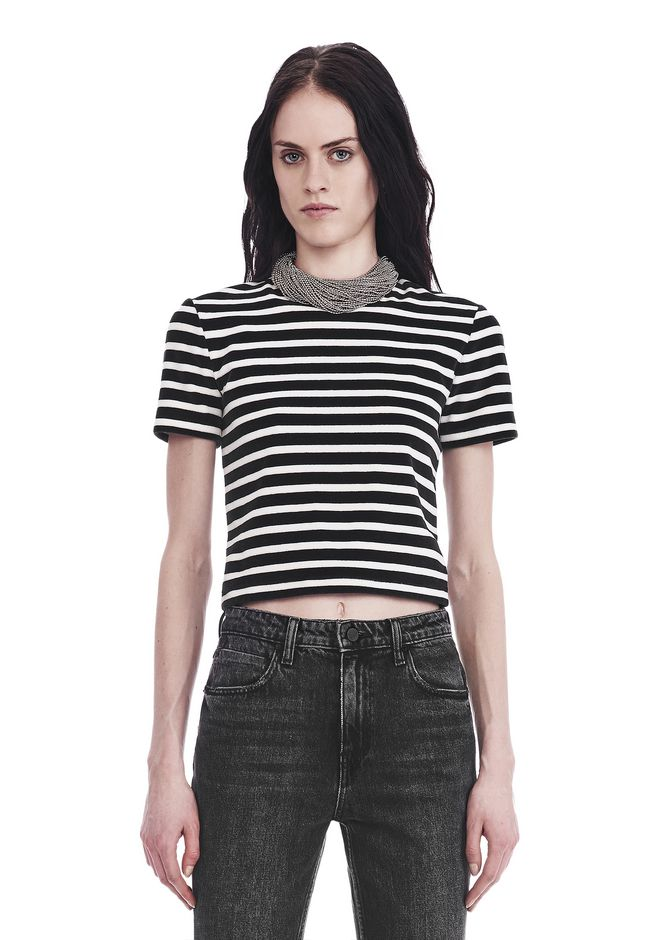 T by ALEXANDER WANG t-by-alexander-wang-sale STRIPED VELOUR MOCK NECK TOP