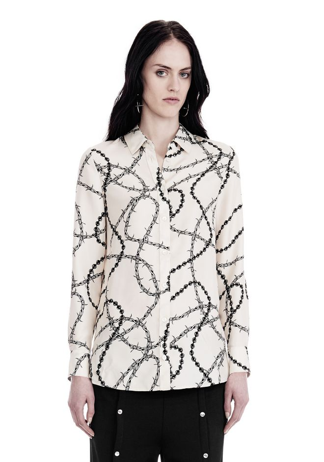 ALEXANDER WANG BUTTON-UP SHIRT WITH BARBED WIRE PRINT TOPS Adult 12_n_a