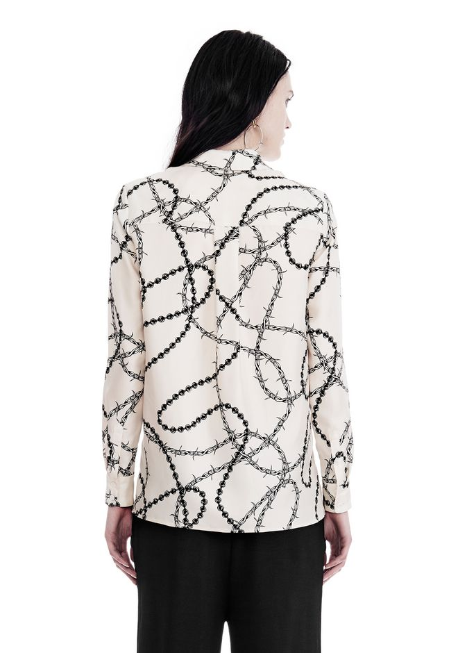 ALEXANDER WANG BUTTON-UP SHIRT WITH BARBED WIRE PRINT TOPS Adult 12_n_d