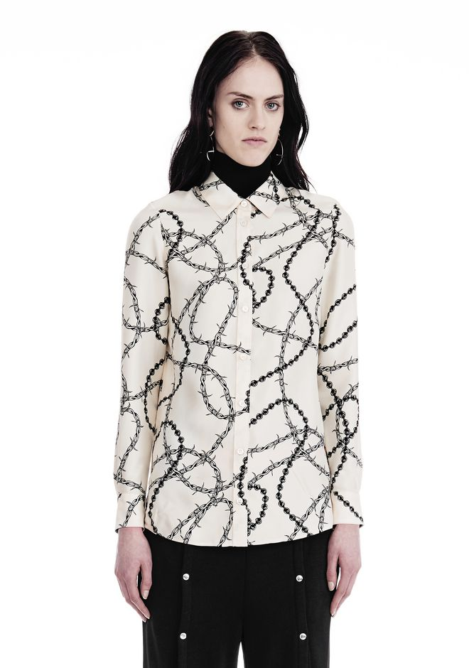 ALEXANDER WANG BUTTON-UP SHIRT WITH BARBED WIRE PRINT TOP Adult 12_n_e