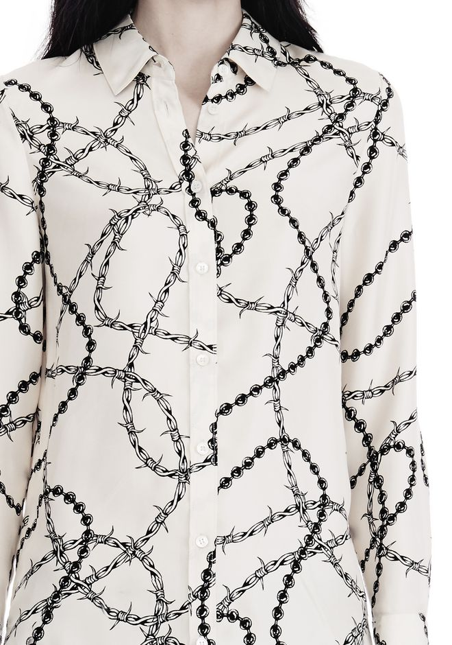 ALEXANDER WANG BUTTON-UP SHIRT WITH BARBED WIRE PRINT TOPS Adult 12_n_r